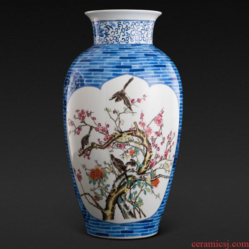 Jingdezhen ceramics powder enamel vase landing home sitting room porch place large hotel decoration arts and crafts