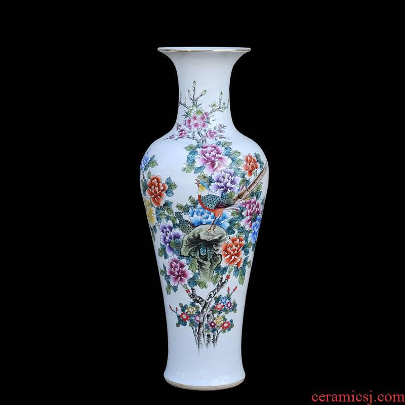 Jingdezhen ceramic vases, antique hand - made pastel peony flower goddess of mercy bottle of large vases, decorative furnishing articles