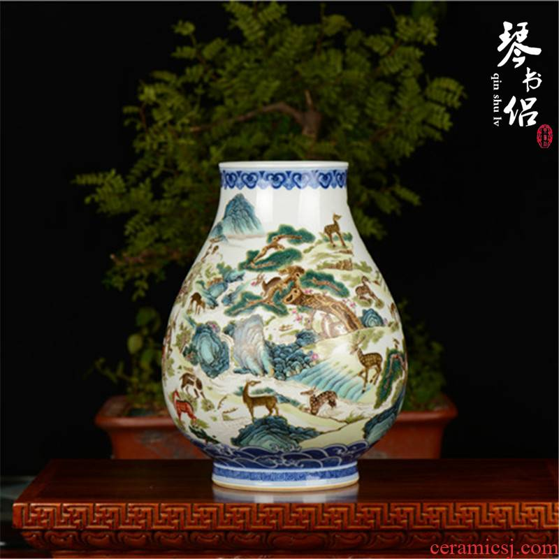 Pianology picking jingdezhen manual hand - made antique ceramics, vases, home act the role ofing is tasted deer imitation qianlong pastel painting