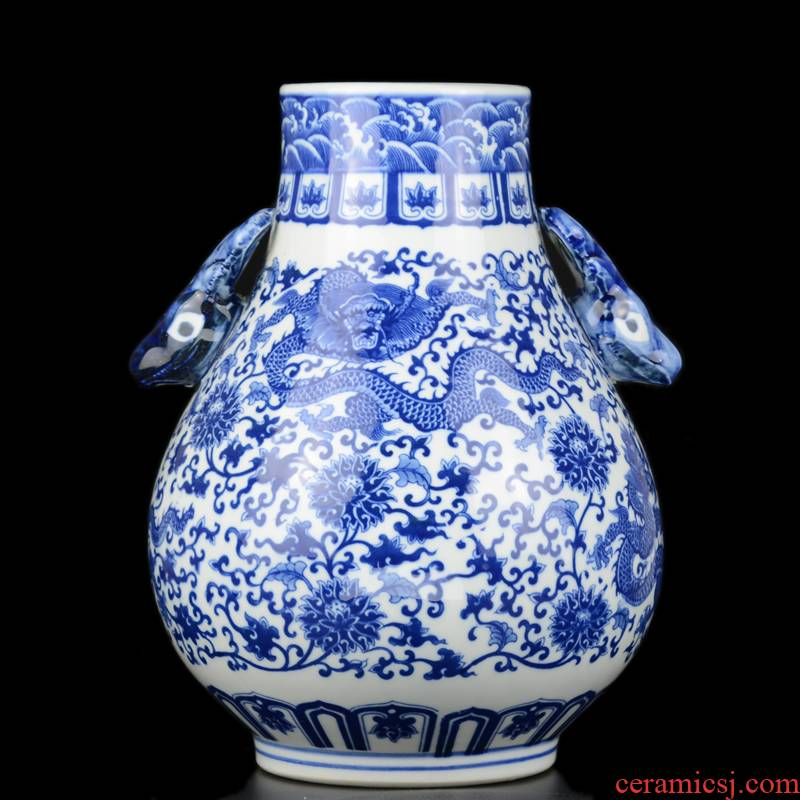 Jingdezhen ceramics archaize dragon ears of blue and white porcelain vase sitting room rich ancient frame f tube furnishing articles ornaments