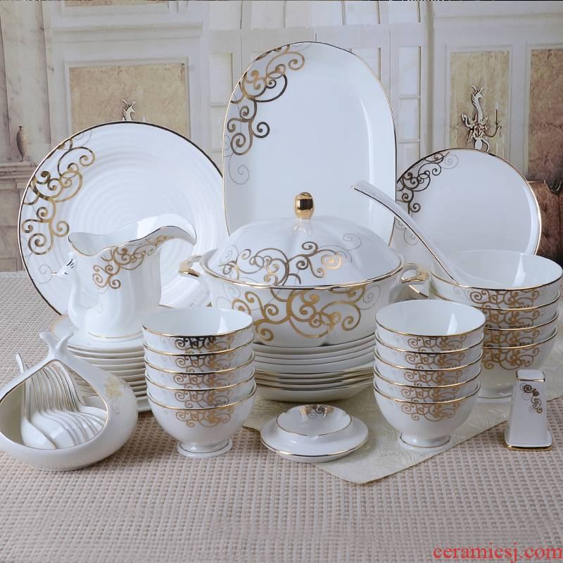 BO0026 European dishes suit tangshan 52 head tableware suit dishes household ipads China Chinese dish bowl