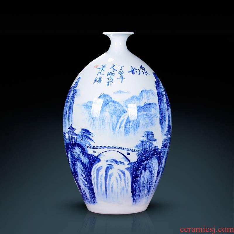 Jingdezhen ceramics furnishing articles ornaments desktop hand blue and white porcelain vases, famous master of the sitting room porch decoration