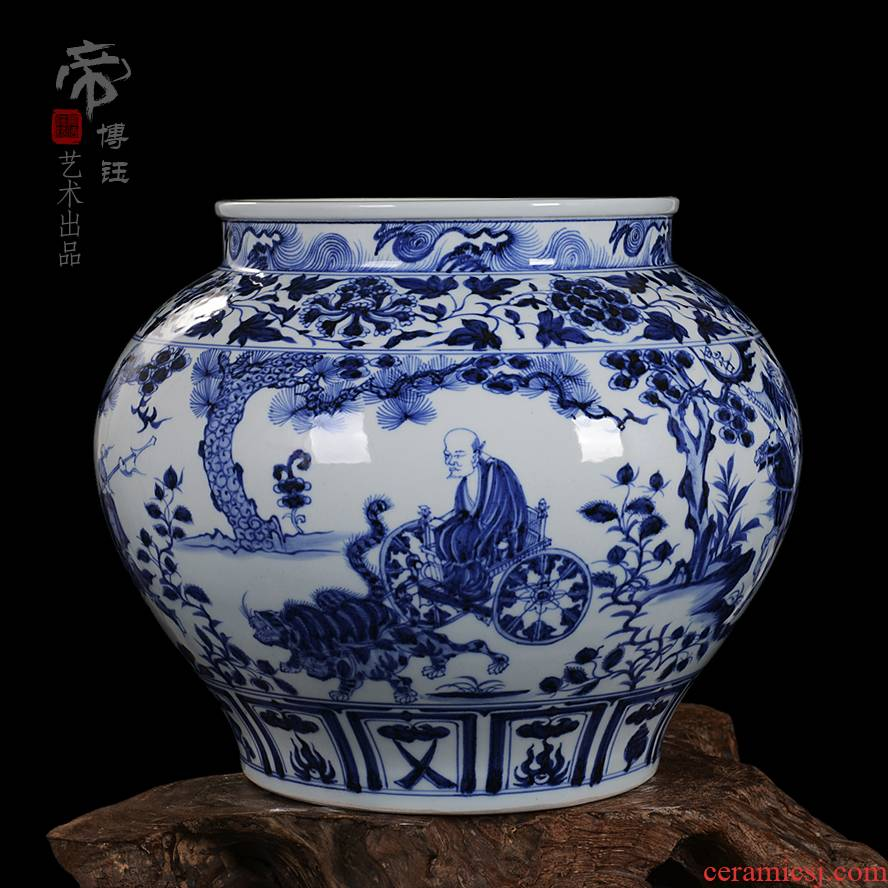 Jingdezhen fine antique ceramics yuan blue and white ghost cereal is downhill pitcher of high - grade hand - made vases, high copy written