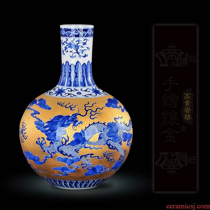 Jingdezhen ceramics high - grade gold hand - made vases, while modern handicraft furnishing articles