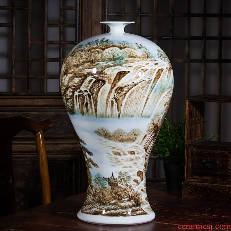 Jingdezhen ceramic antique color ink famous hand - made vases bonanza Chinese style home sitting room adornment is placed