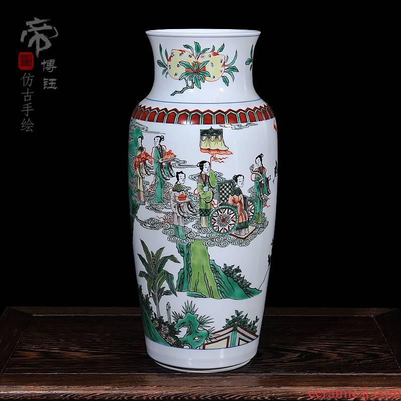 Jingdezhen ceramic vases, antique hand - made pastel the qing shunzhi year vase household decorates sitting room furnishing articles