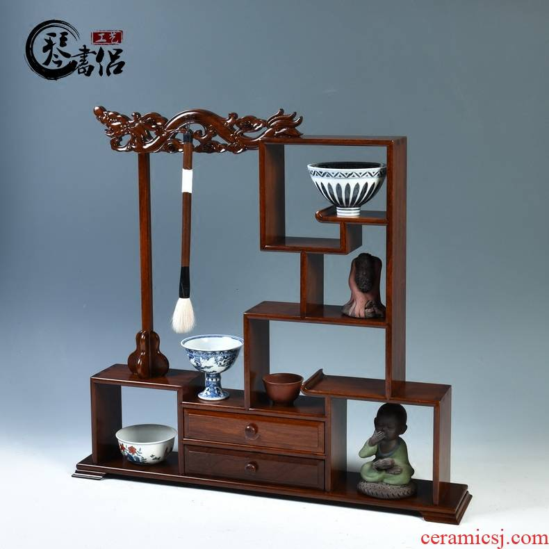 Pianology picking rosewood carving ancient frame base solid wood tea set small m letters treasure pavilion antique furnishing articles rich ancient frame base