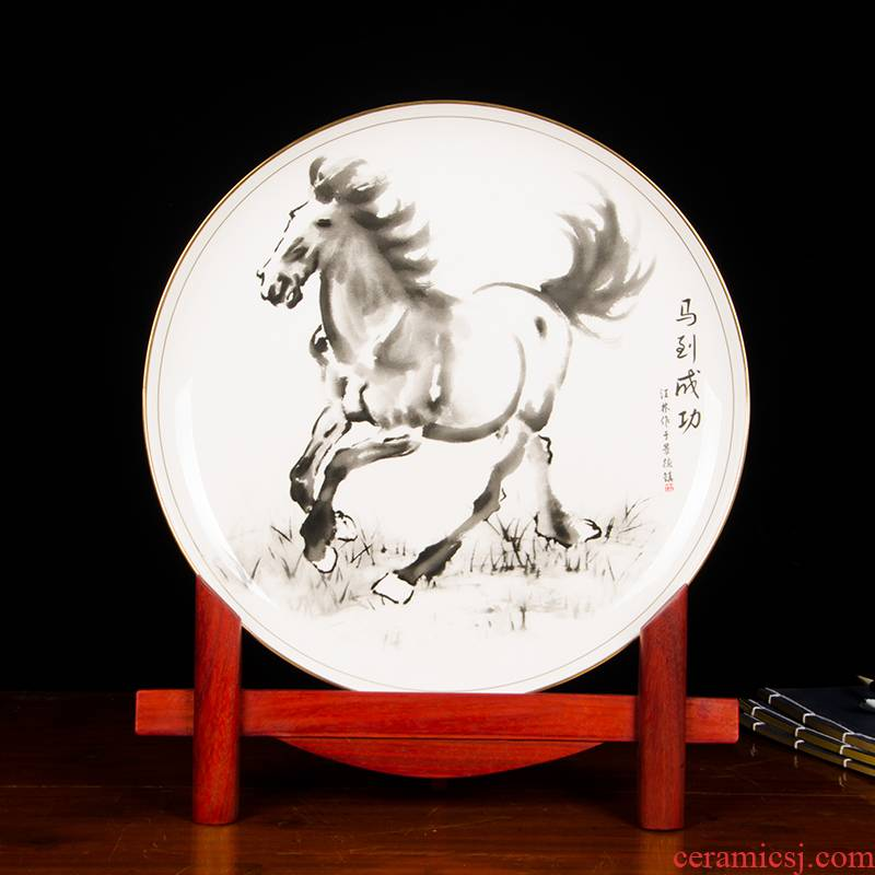 Z027 jingdezhen chinaware paint edge ipads China success big porcelain decorative plate of the sitting room the hotel decoration