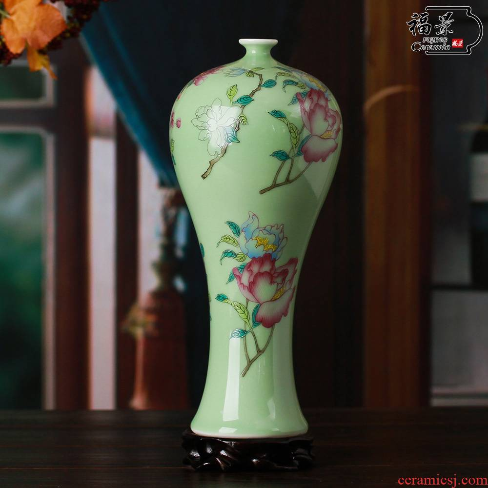 Household of Chinese style celadon vase rich ancient frame furnishing articles pure manual pea green glaze peony study decorative ceramic arts and crafts