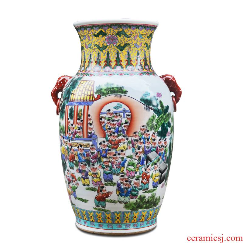 Jingdezhen ceramics hand - made ears the ancient philosophers figure the lad of large vase furnishing articles of I sitting room opening gifts