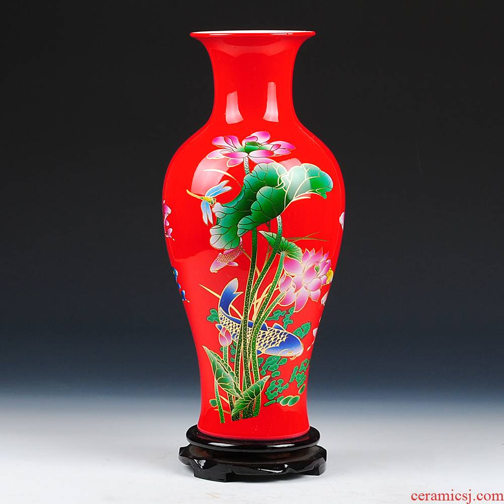 Jingdezhen ceramics China red lotus vase more modern home furnishing articles every year
