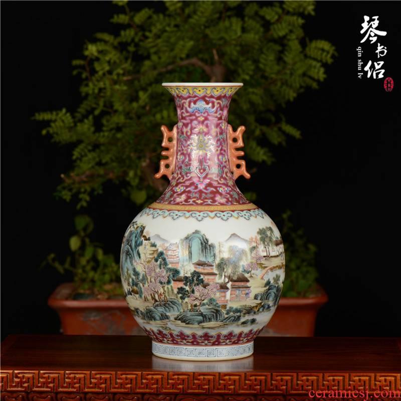 Pianology picking hand antique art of jingdezhen porcelain decorative vase qianlong pastel landscape character double ears