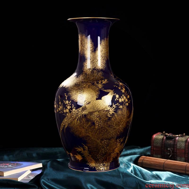 Jingdezhen ceramic vase high - end antique qianlong ji blue see colour bottle home decoration craft flower glaze furnishing articles
