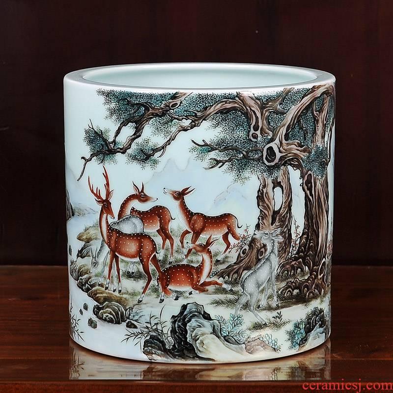 Jingdezhen ceramics imitation the qing qianlong pastel 13 lu brush pot vase household craft sitting room adornment furnishing articles