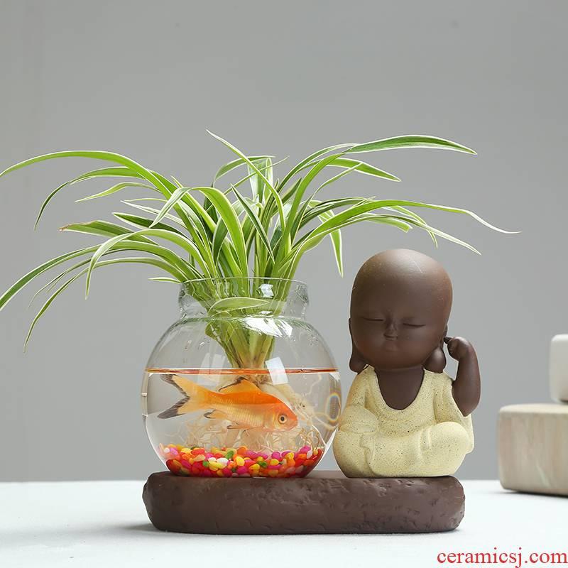Water raise monk zen hydroponic copper money plant grass transparent glass vase plant bracketplant vase ceramic flower pot