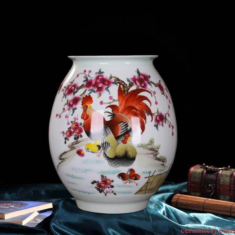 Jingdezhen ceramics powder enamel family rooster vase hand - made vases sitting room household handicraft furnishing articles