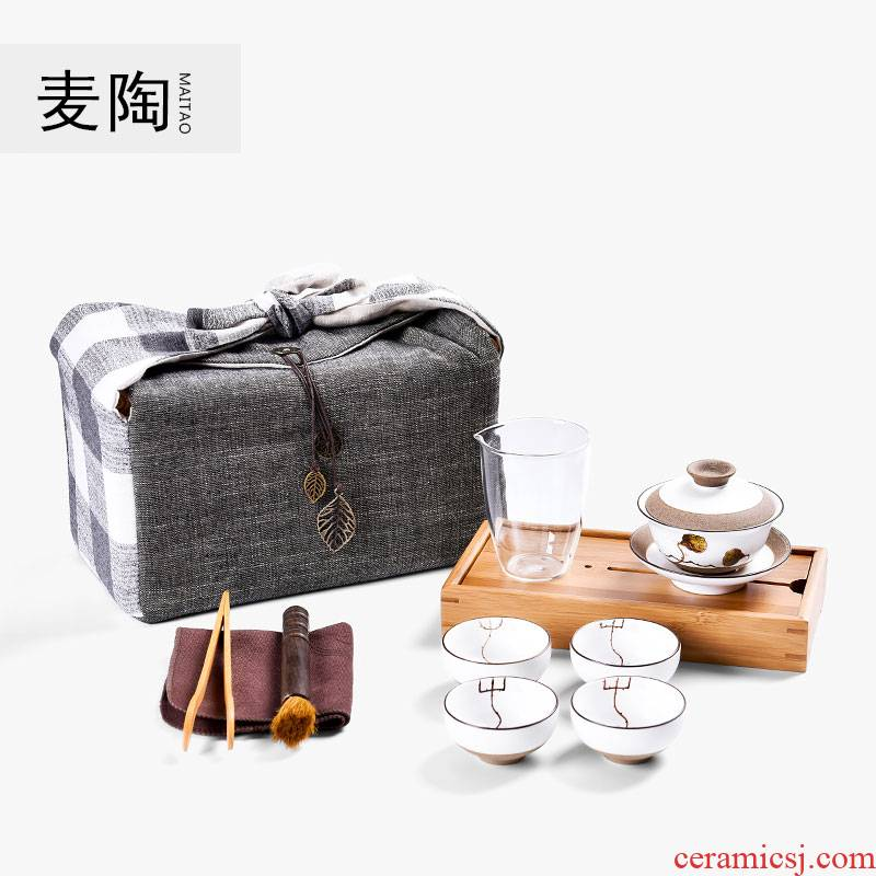 MaiTao hand - made kung fu tea set a pot of 4 cups to receive bags crack cup portable travel ceramic tea set