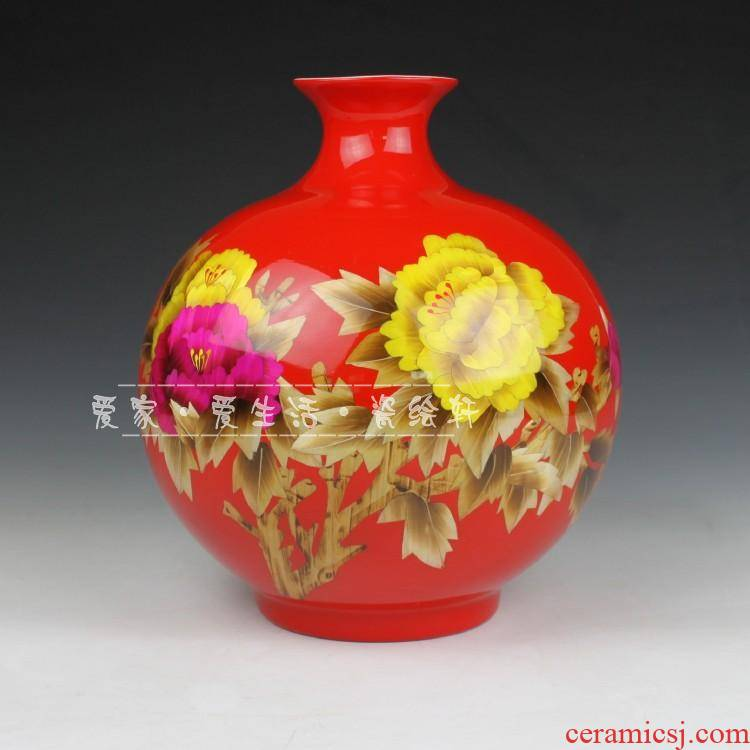 Chinese red wedding gift classical jingdezhen ceramics straw porcelain ceramic furnishings decorative vase