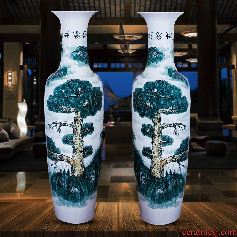 Jingdezhen ceramic manual hand - made guest - the greeting pine of large blue and white porcelain vase archaize sitting room hotel decoration furnishing articles