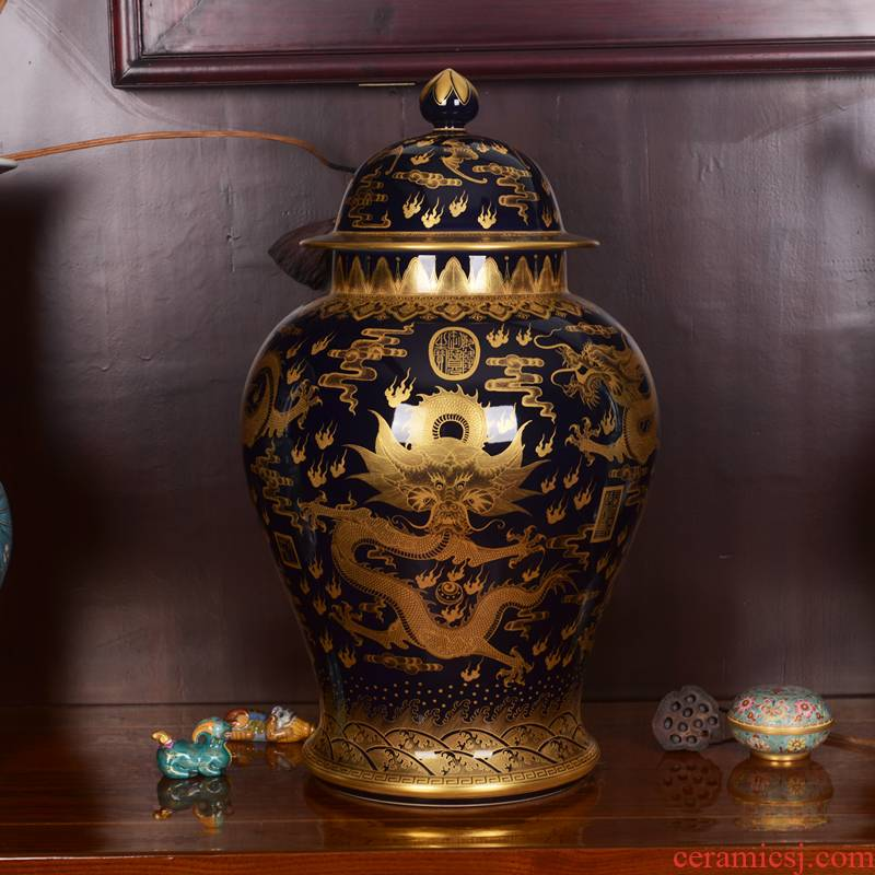 Jingdezhen ceramic imitation the qing qianlong ji general blue glaze see dragon vase household craft ornaments furnishing articles