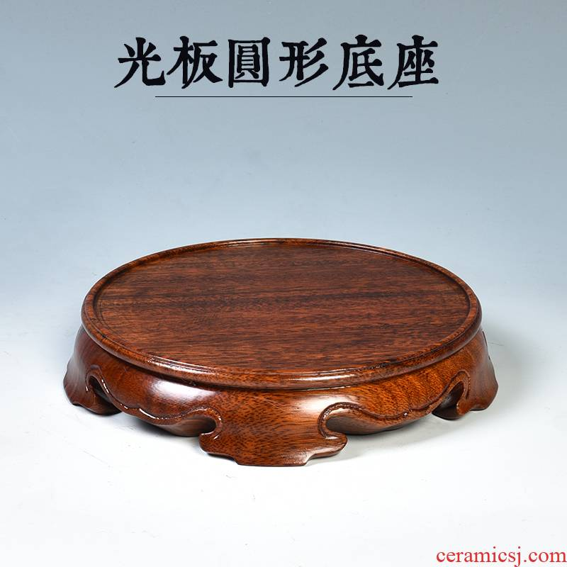 Solid wood real wood carving round base can be excavated vases, antique stone base incense buner base the teapot
