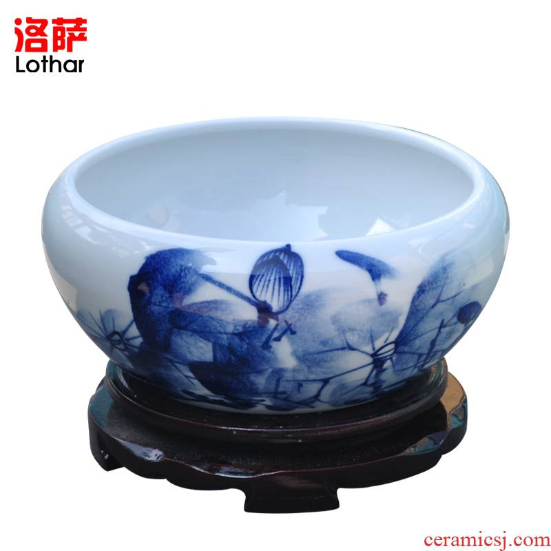 Lothar modern jingdezhen ceramic aquarium hand - made a goldfish bowl bowl lotus basin to furnishing articles goldfish bowl lotus the tortoise