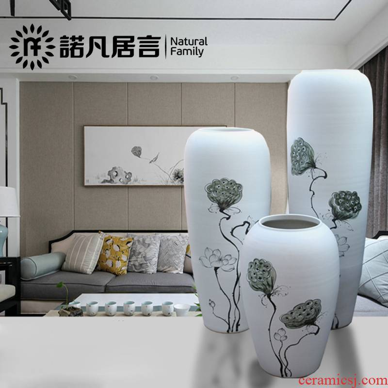 Ceramic floor big vase dried flowers, hand - made white variable flower arranging modern European sitting room hotel villa decoration furnishing articles