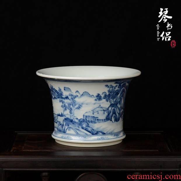 Pianology picking jingdezhen manual hand - made antique pottery and porcelain vases, home furnishing articles up with blue and white landscape flower pot