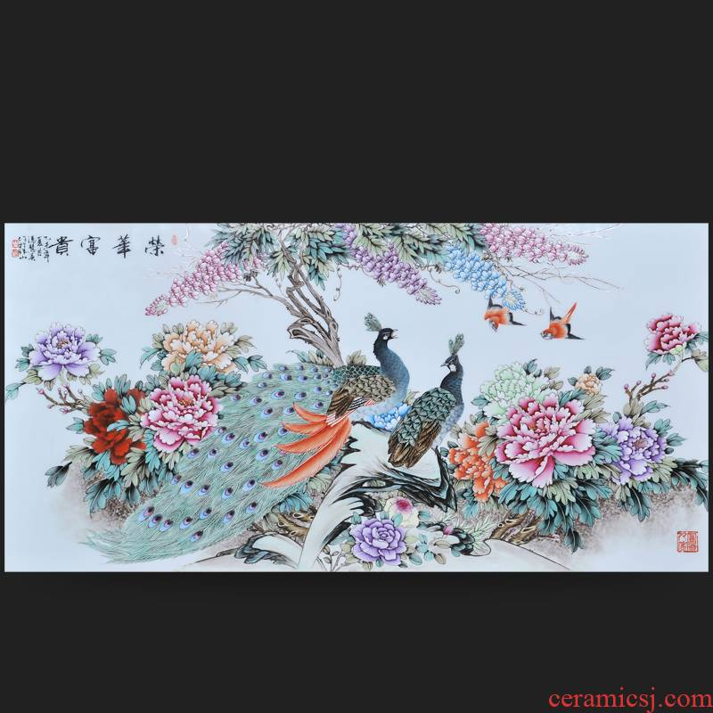 Jingdezhen ceramics Feng Huiying hand - made splendor in porcelain plate painter adornment picture hanging in the sitting room is placed