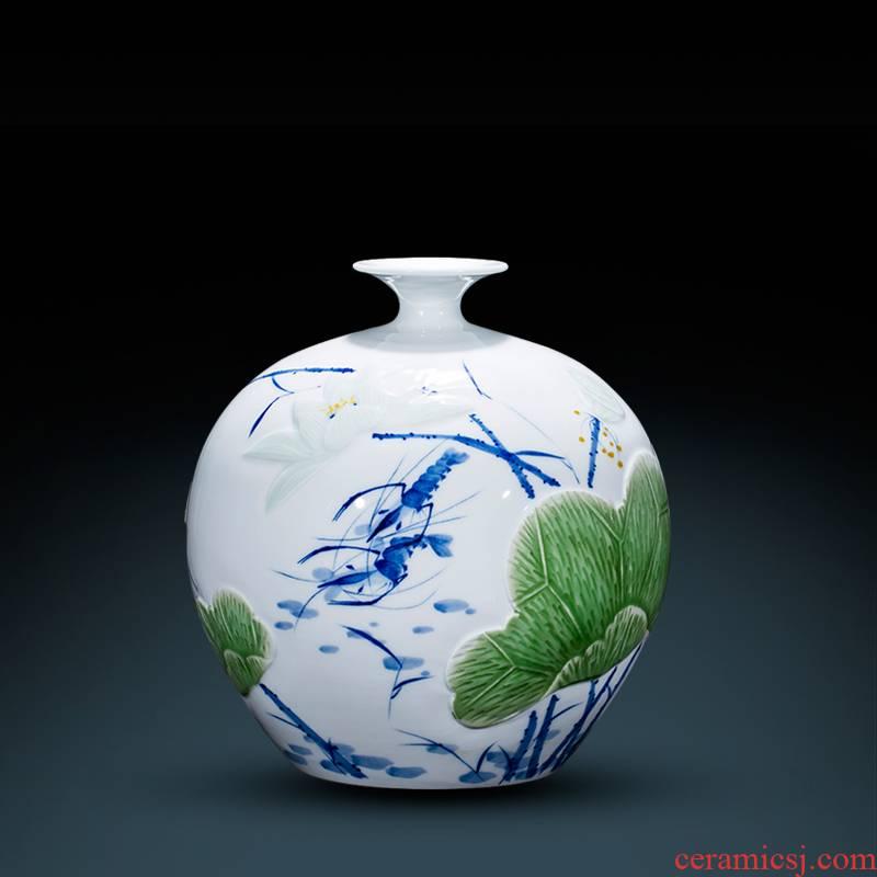 Jingdezhen ceramics master hand carved blue glaze of blue and white porcelain vases, flower arranging, the sitting room porch decorations furnishing articles
