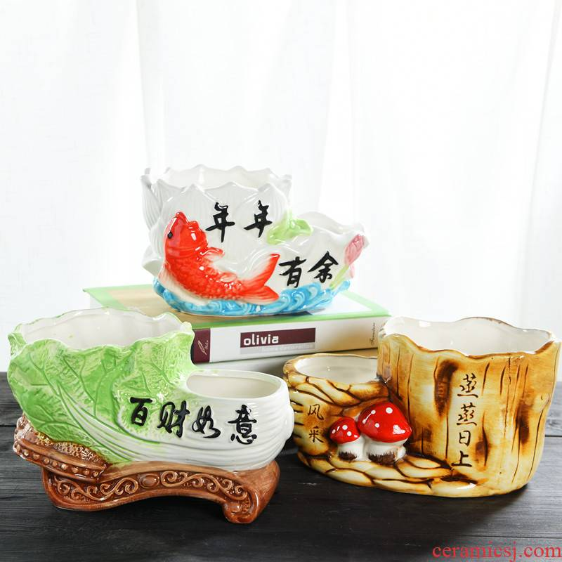 Flowerpot ceramic wholesale and double hole large rich tree indoor creative contracted more than other meat the plants flower pot in move