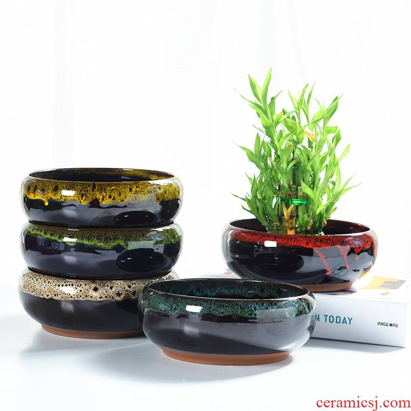 Basin other ceramic up, fleshy hydroponic plant nonporous refers to water lily bowl lotus grass cooper creative flower pot