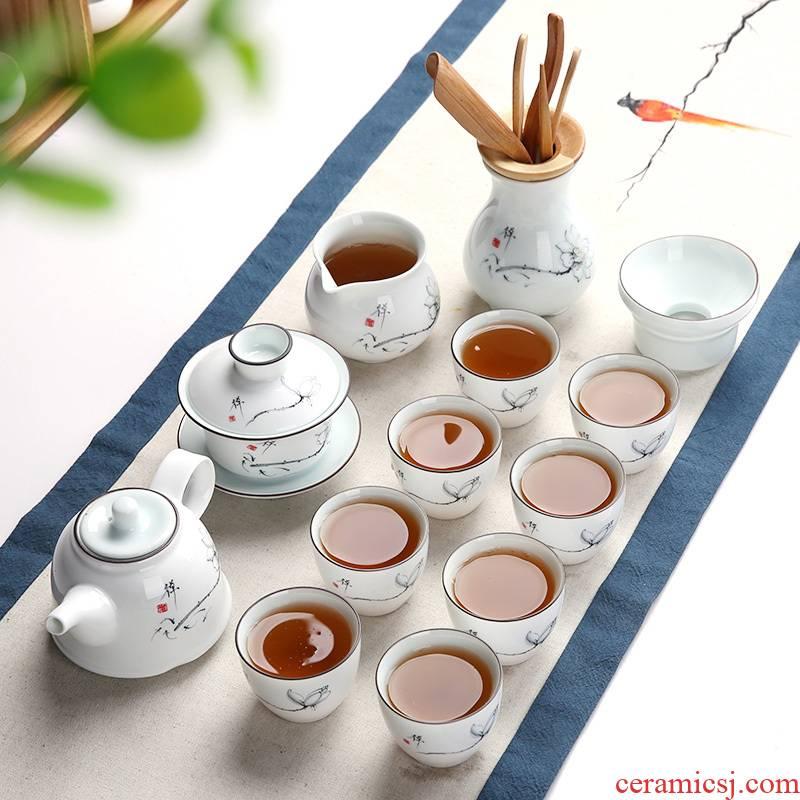 Beauty cabinet kung fu tea tea set of household ceramic white porcelain cup tea tureen teapot tea of a complete set of zero