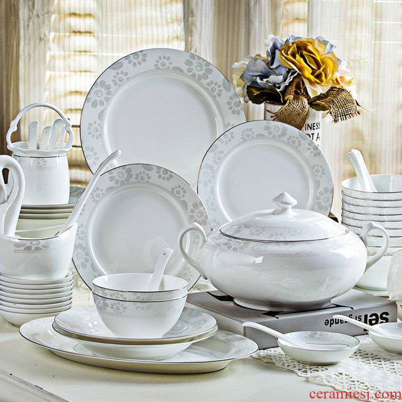 Chinese ceramic tableware suit household combination dishes north European jingdezhen bowls of ipads plate glass fashion contracted