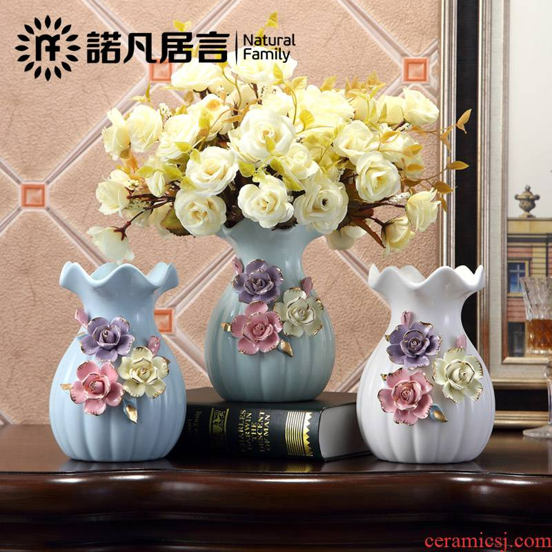 Jingdezhen ceramic surface vase sitting room place office study household decoration European - style decorative gift the Mediterranean Sea