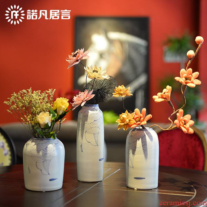Ceramic vase, every new Chinese style is pure hand - made lotus between three - piece example household act the role ofing is tasted decorative porcelain furnishing articles