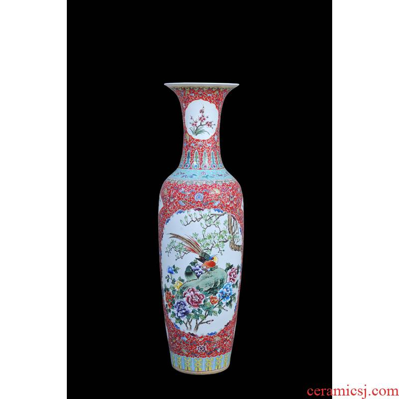 Jingdezhen ceramic vases, antique hand - made famille rose red to open the window charactizing a landing of large vase