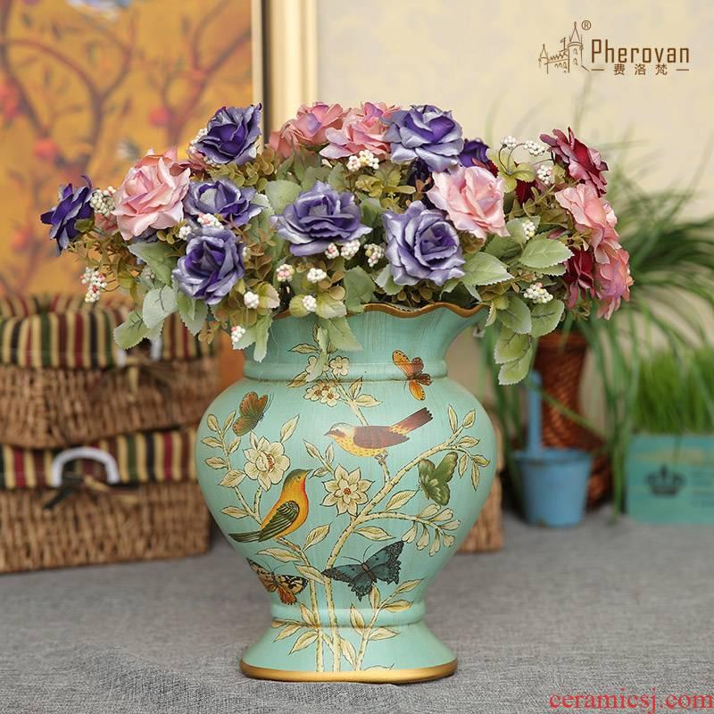 European American vase sitting room ceramic vase restoring ancient ways furnishing articles furnishing articles mesa vase painting of flowers and ceramic country