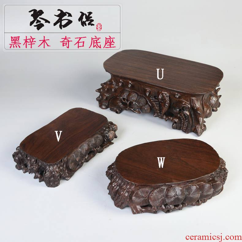 Ebony woodcarvings base stone base solid wood excavated rectangular oval jade stone base of Buddha furnishing articles base