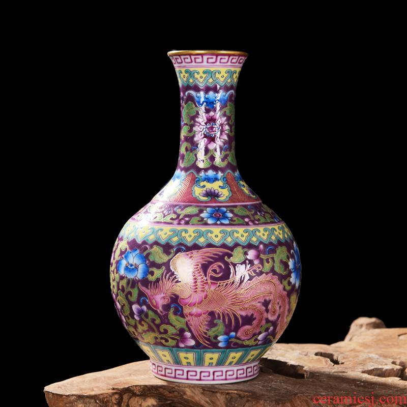 Jingdezhen ceramic high - end antique qianlong double phoenix design sitting room place colored enamel vase home decoration process
