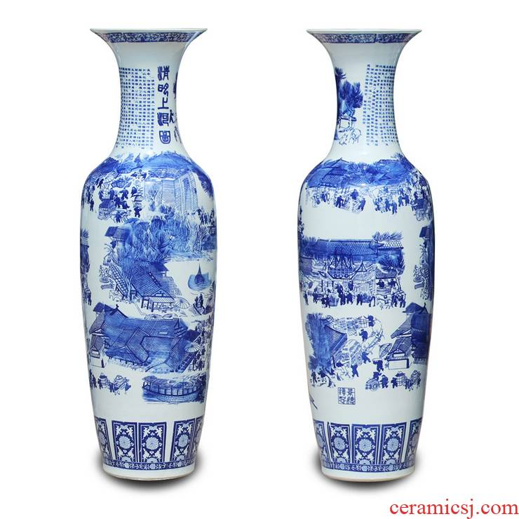 Jingdezhen ceramics 1 meters above the landing of blue and white porcelain vase sitting room hotel furnishing articles ornament