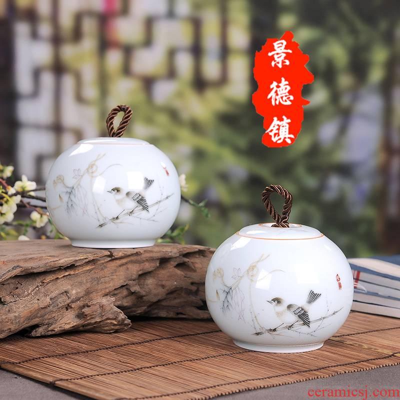 Jingdezhen ceramic tea caddy fixings box medium storage tanks seal pot moistureproof pu 'er wake receives gift box