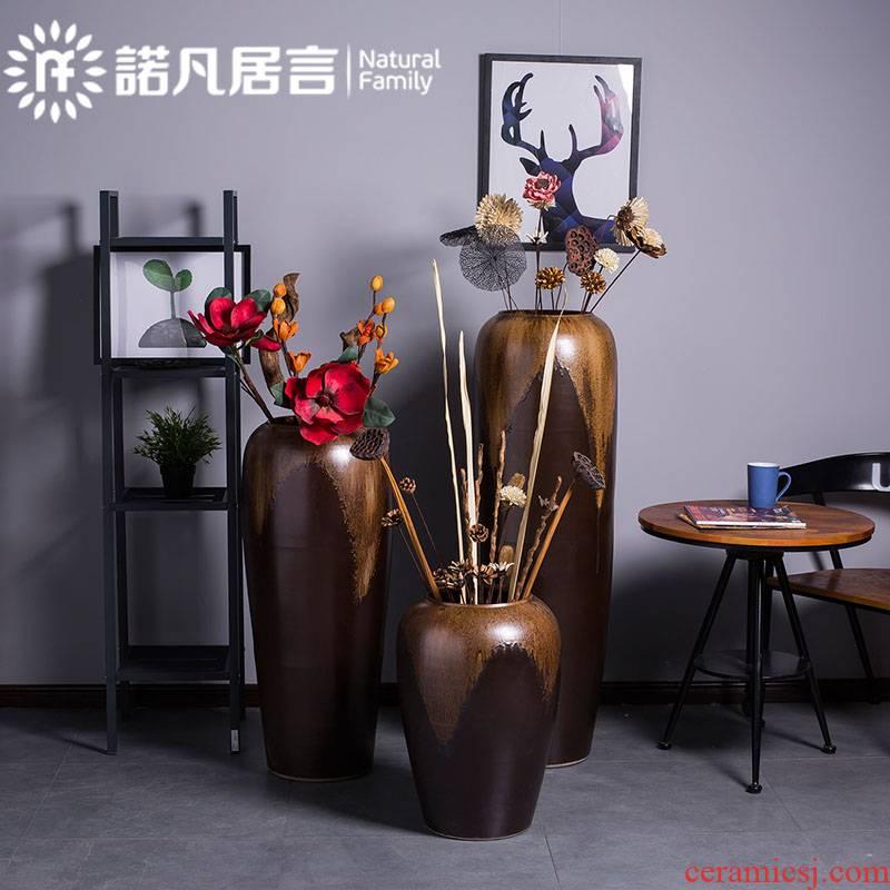 Jingdezhen ceramic large vases, flower vase landing restoring ancient ways furnishing articles contracted coarse pottery hotel villa living room decoration