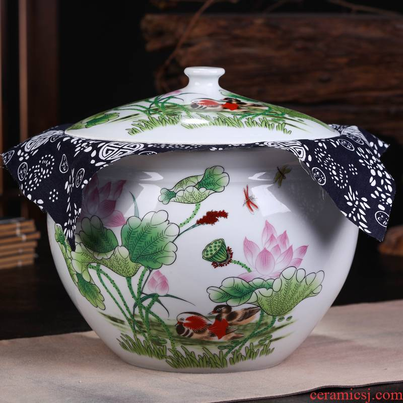 Jingdezhen ceramic cake caddy fixings seal POTS to restore ancient ways, the seventh, peulthai the puer tea cake large pot gift box packaging