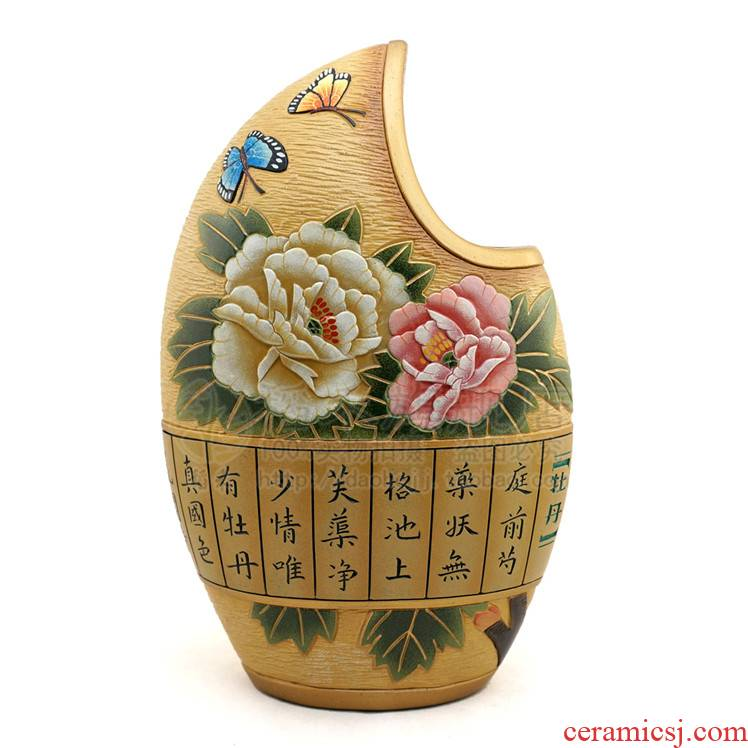 Creative ceramic handicraft decoration of Chinese style home sitting room adornment ceramics furnishing articles made pottery vase wedding gift