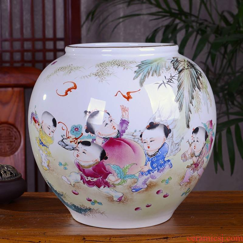 Jingdezhen ceramic vase furnishing articles living room flower arranging enamel cylinder GuanPing modern Chinese style household decoration decoration