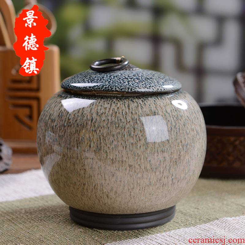 Large household storage tanks in jingdezhen up caddy fixings ceramic seal box of pu - erh tea, green tea caddy fixings