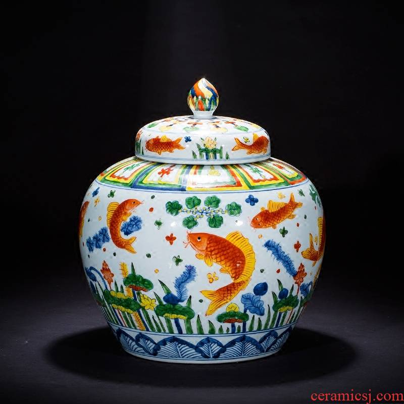 Jingdezhen ceramics imitation Ming vase sitting room home decoration furnishing articles hand - made pastel archaize fish algae general grain tank
