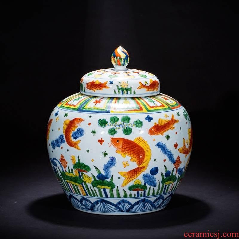 Jingdezhen ceramics imitation Ming vase sitting room home decoration furnishing articles hand - made pastel archaize fish algae general grain tank