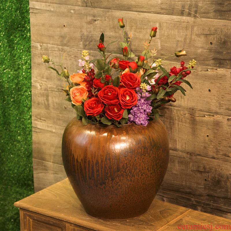 Jingdezhen creative modern new Chinese TV ark, ceramic vase in the sitting room porch home decoration flower implement furnishing articles